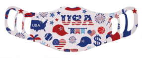 A washable and reusable polyester USA July 4th party pattern printed cloth face mask for kids
